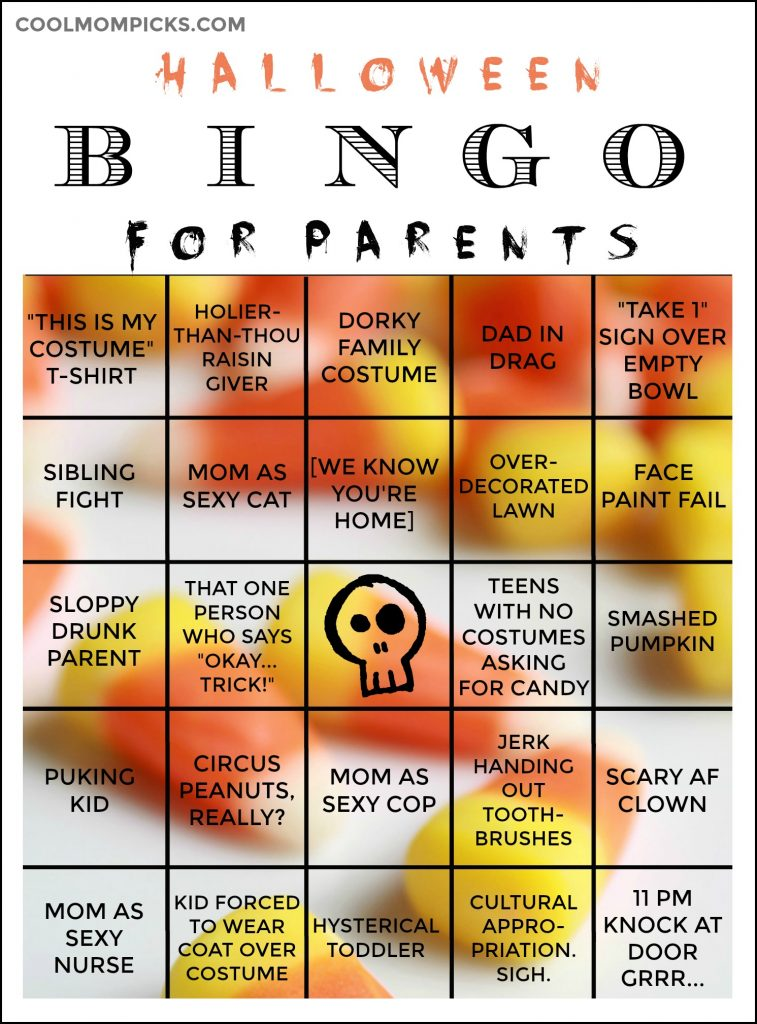 graphic relating to Free Printable Halloween Bingo Cards titled Halloween Bingo for Moms and dads: Simply print, fill the card, earn