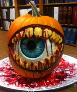 Bloody eyeball teeth pumpkin from the This Old House carving contest