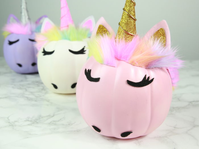 DIY Glam unicorn pumpkin tutorial from Hello Giggles