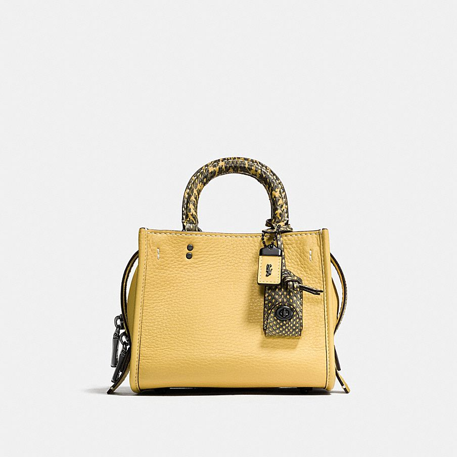 Coach Rogue 17 Satchel in Yellow with Snake Details | colorful handbags for fall