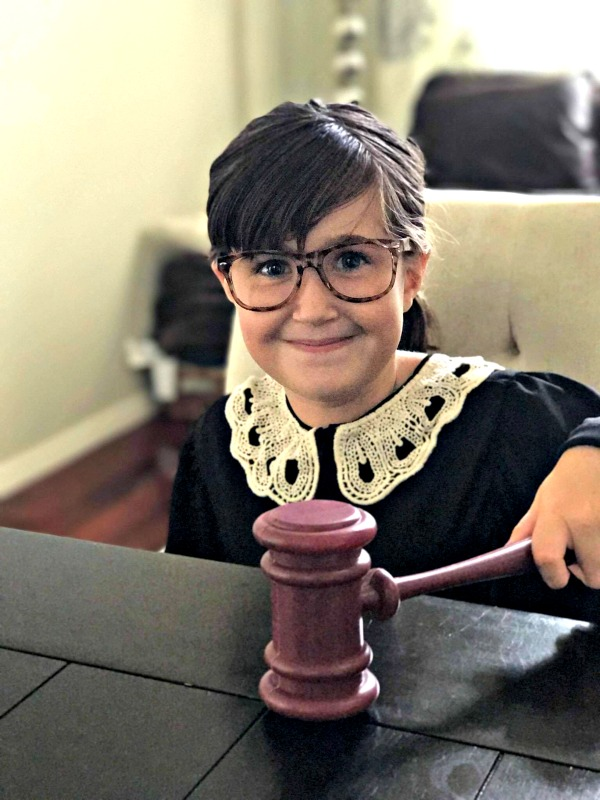 Empowering girl Halloween costumes inspired by real life heroes: Ruth Bader Ginsburg costume from Bored Inc on Etsy