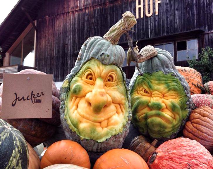 Creepiest Halloween pumpkins: Blue Squash Faces| Ray Villfane via Inhabitat.