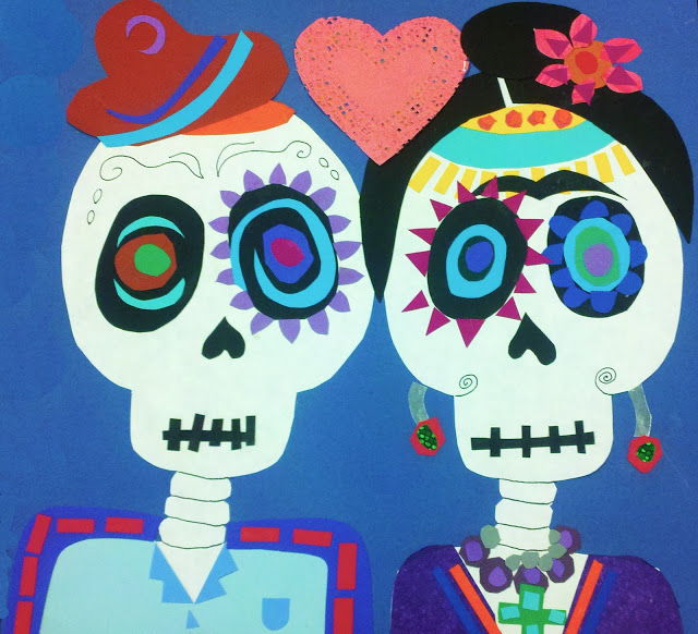 Sugar skull crafts | sugar skull collage from Modern Art 4 Kids