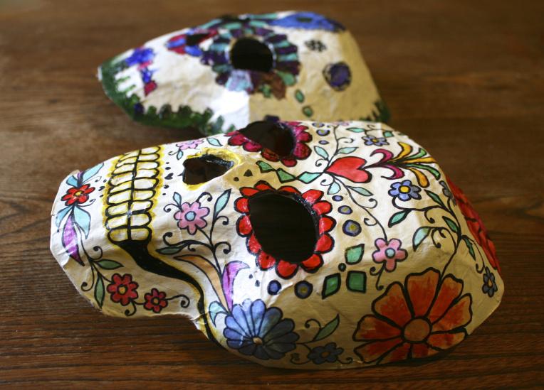 Sugar skull crafts | sugar skull 3D masks from Made by Toya