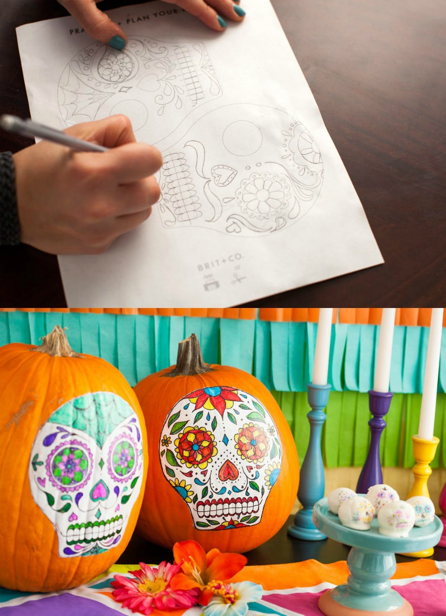 Sugar skull pumpkins and free printable template and practice sheets from Brit + Co