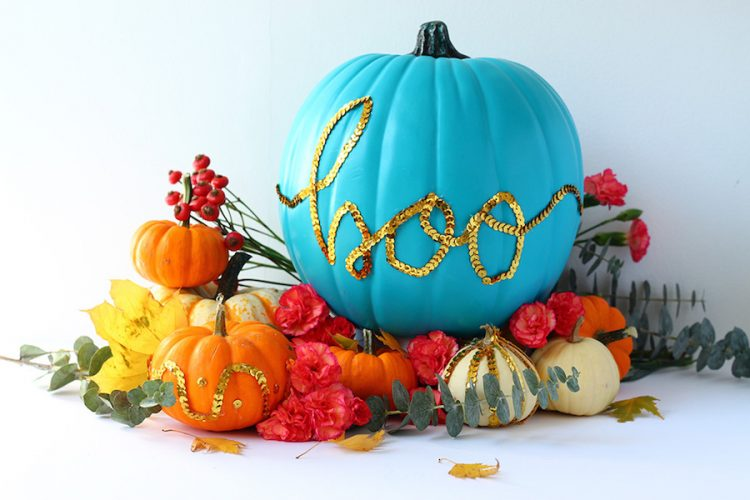 Teal pumpkin decorating ideas: Sequin Message Pumpkin DIY from Squirrelly Minds