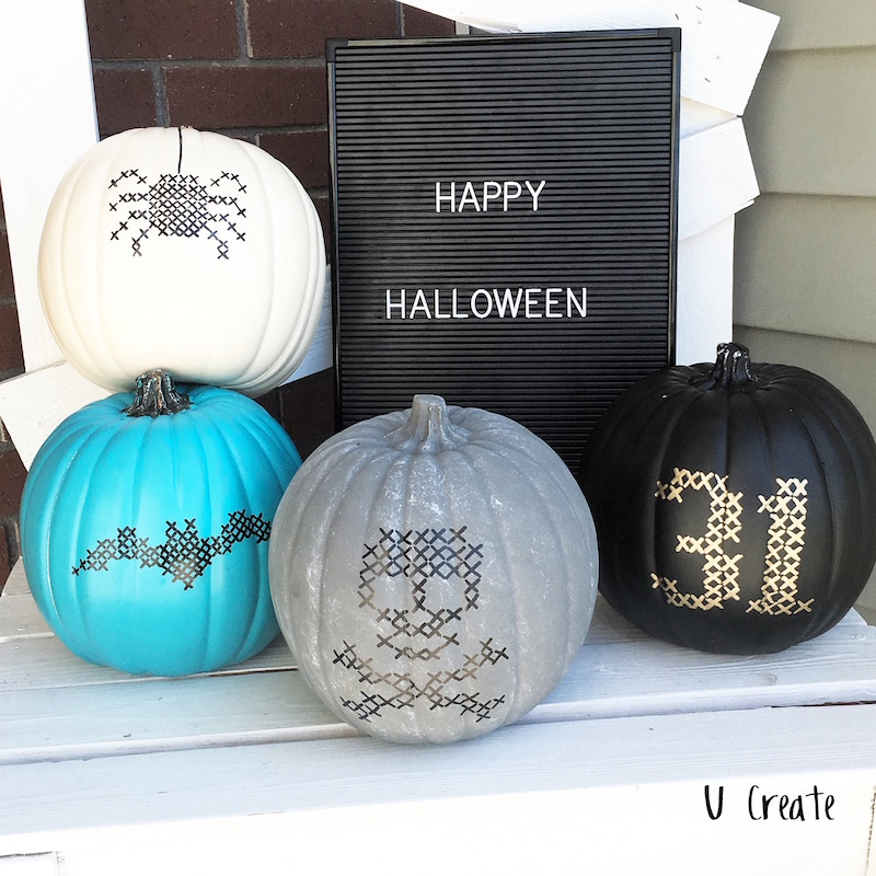 Teal pumpkin decorating ideas: Faux Stitched Pumpkins by U Create at Eighteen 25