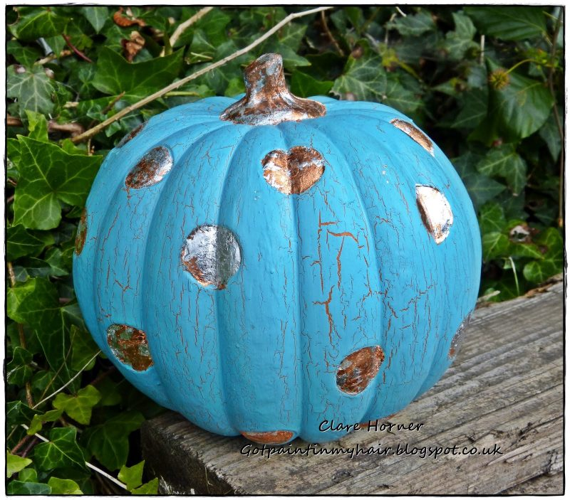 Teal pumpkin decorating ideas: Vintage Teal Pumpkin by Got Paint in My Hair