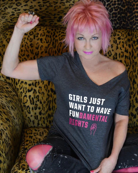 Cool feminist gifts: Girls Just Wanna Have Fundamental Rights shirt supporting women's healthcare + LGBT youth