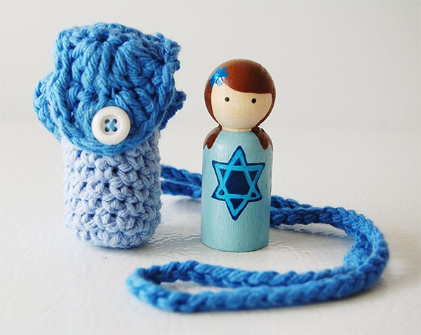 Cool Hanukkah gifts: Handmade Hanukkah doll necklace in boy or girl style by Zooble