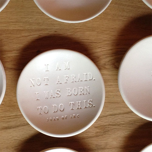 Cool feminist gifts supporting women-owned shops: Joan of Arc quote trinket dish by Paloma's Nest