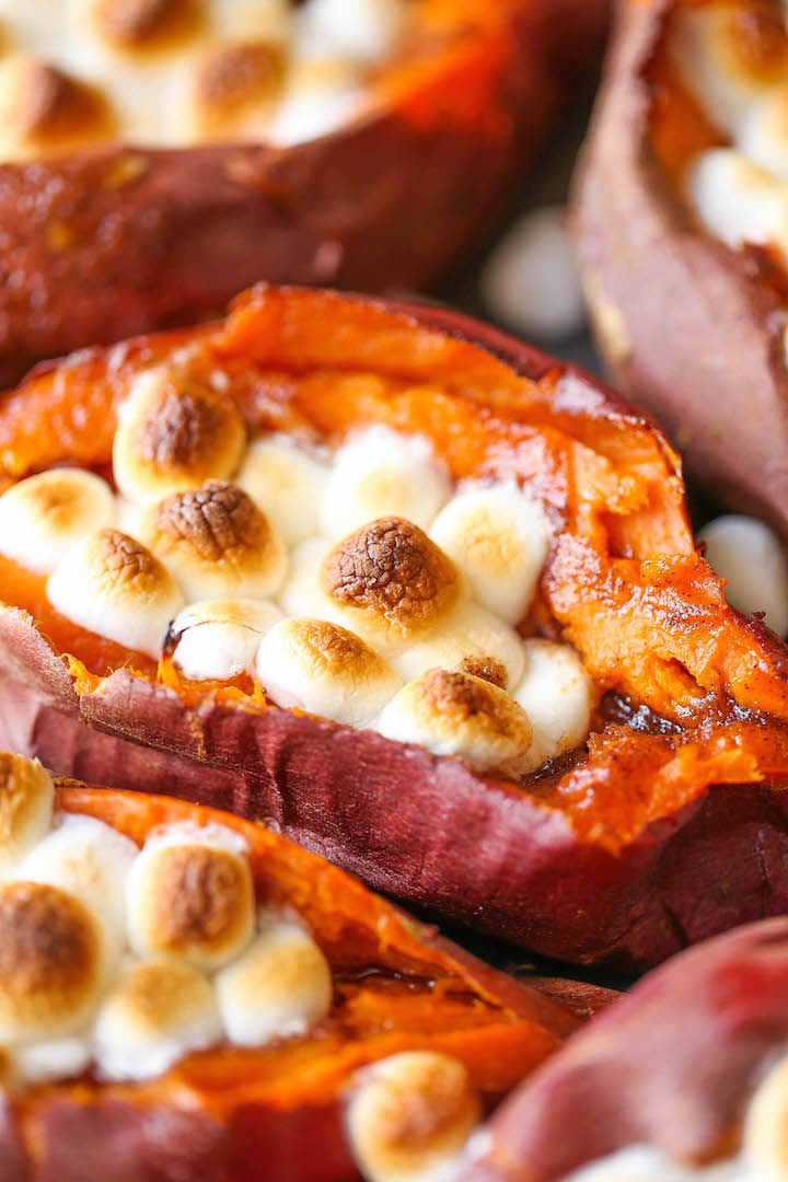 Last-minute Thanksgiving side dish recipes: Loaded Sweet Potatoes | Damn Delicious