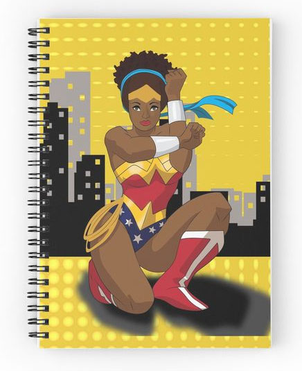 Nubian Wonder Woman Journal by Hood Adjacent Tee for Red Bubble: Cool feminist gifts