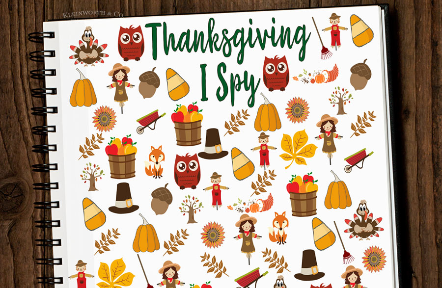 Thanksgiving activity printables: Thanksgiving I Spy Printable | Kleinworth Co.