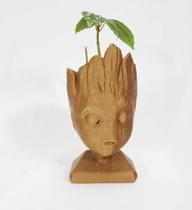 Cool kids' stocking stuffer ideas: 3D printed Baby Groot inspired planter or pencil holder