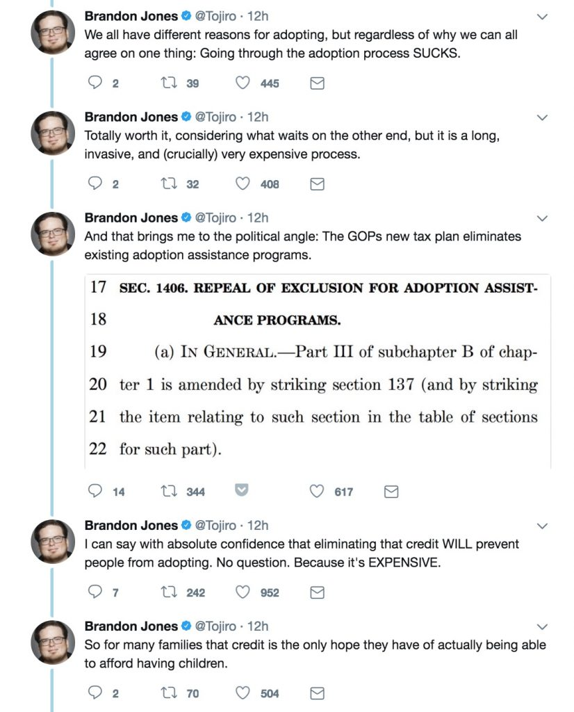 Why the adoption tax credit matters   Twitter thread by Brandon Jones