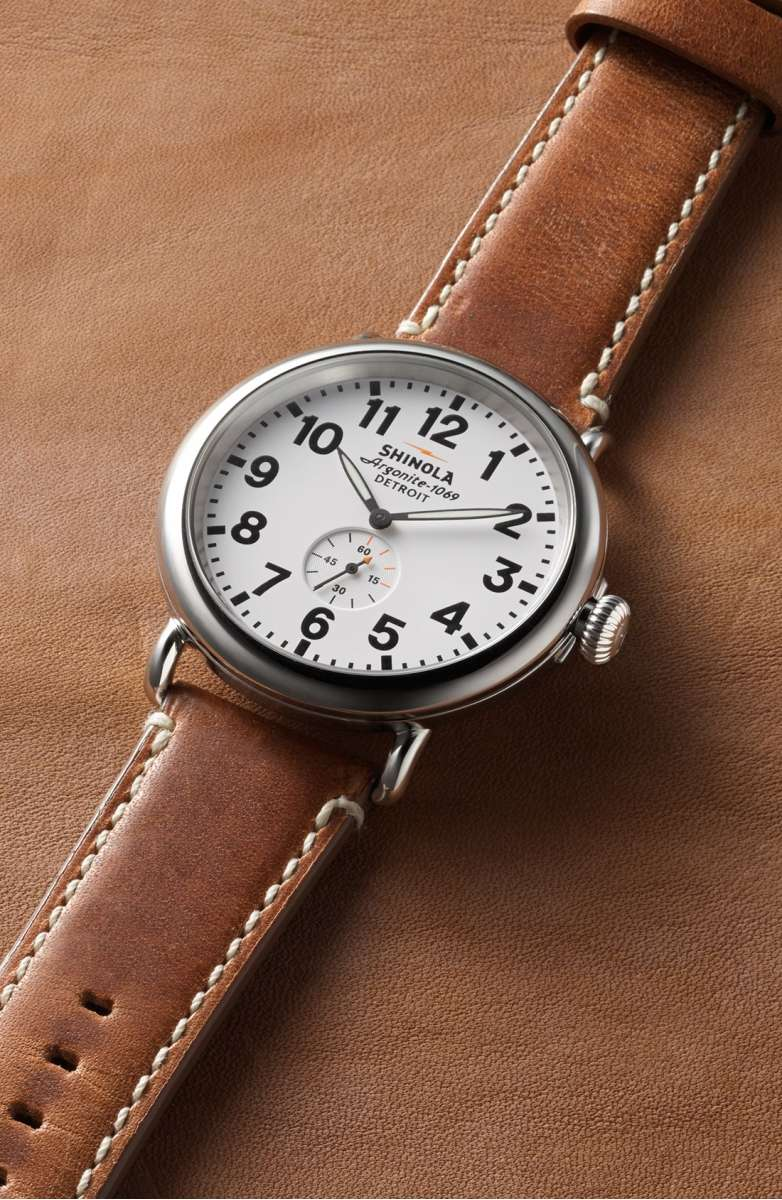 Shinola Leather Watch: Coolest Men's Gifts | 2017 Holiday Gift Guide