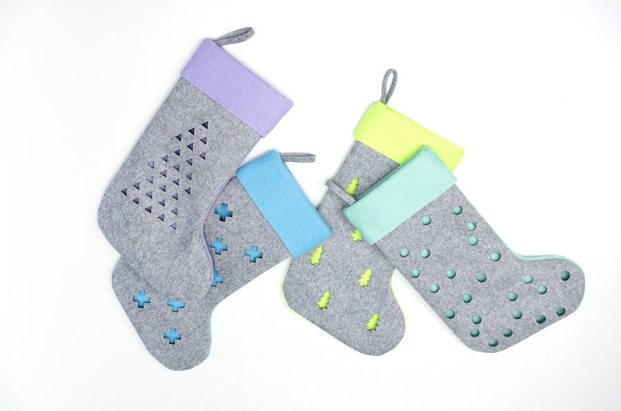 Cool modern Christmas stockings: Scandinavian Style Stockings by Woolly Clouds
