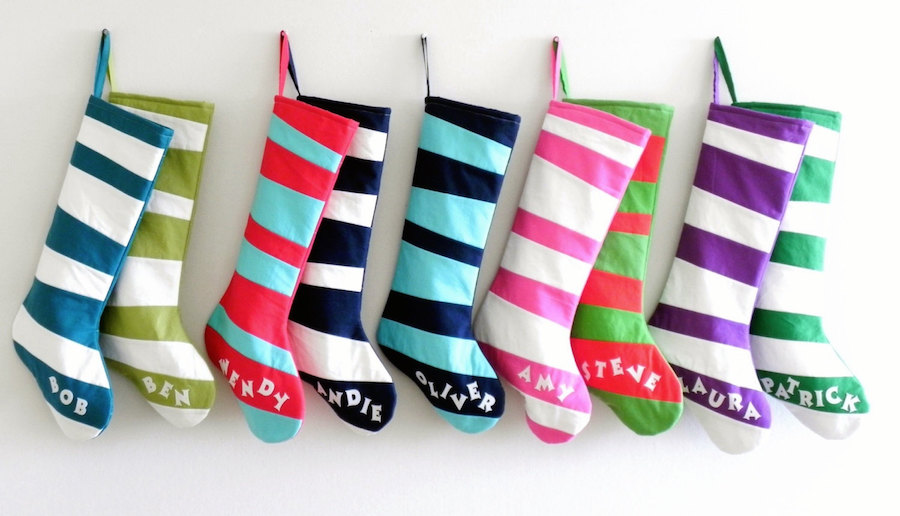 Cool modern Christmas stockings: Seuss-Inspired colorful stockings by Good Wishes Quilts