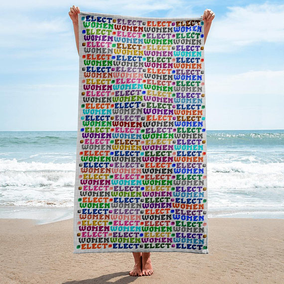 Cool feminist gifts: Elect Women towel with proceeds supporting Emily's List, by GinaGinaGinaGinaGina on Etsy