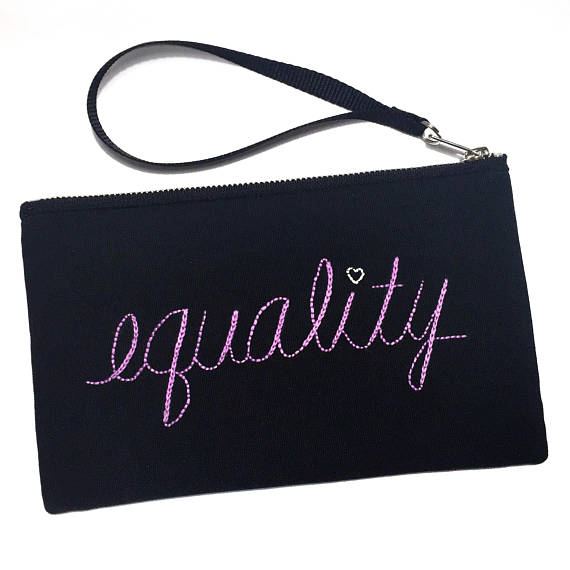 Cool feminist gifts supporting women-owned shops: Equality embroidered pouch