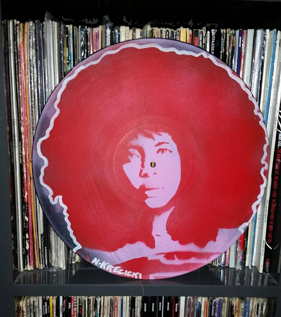 Cool feminist gifts: Erykah Badu Spray Paint Art (and other icons) on Vinyl by Rainbow Alternative