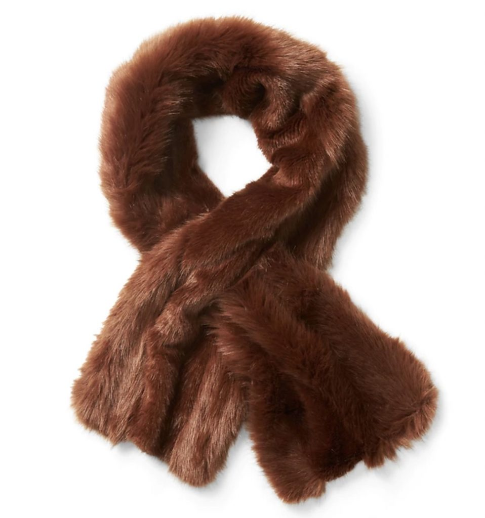 Faux fur pull-through scarf half off right now for holiday shopping!