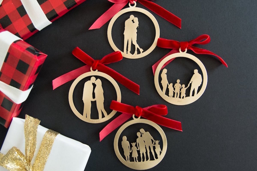 Personalized keepsake gift idea: Full body silhouette ornaments in sterling or gold-fill from Le Papier Studio