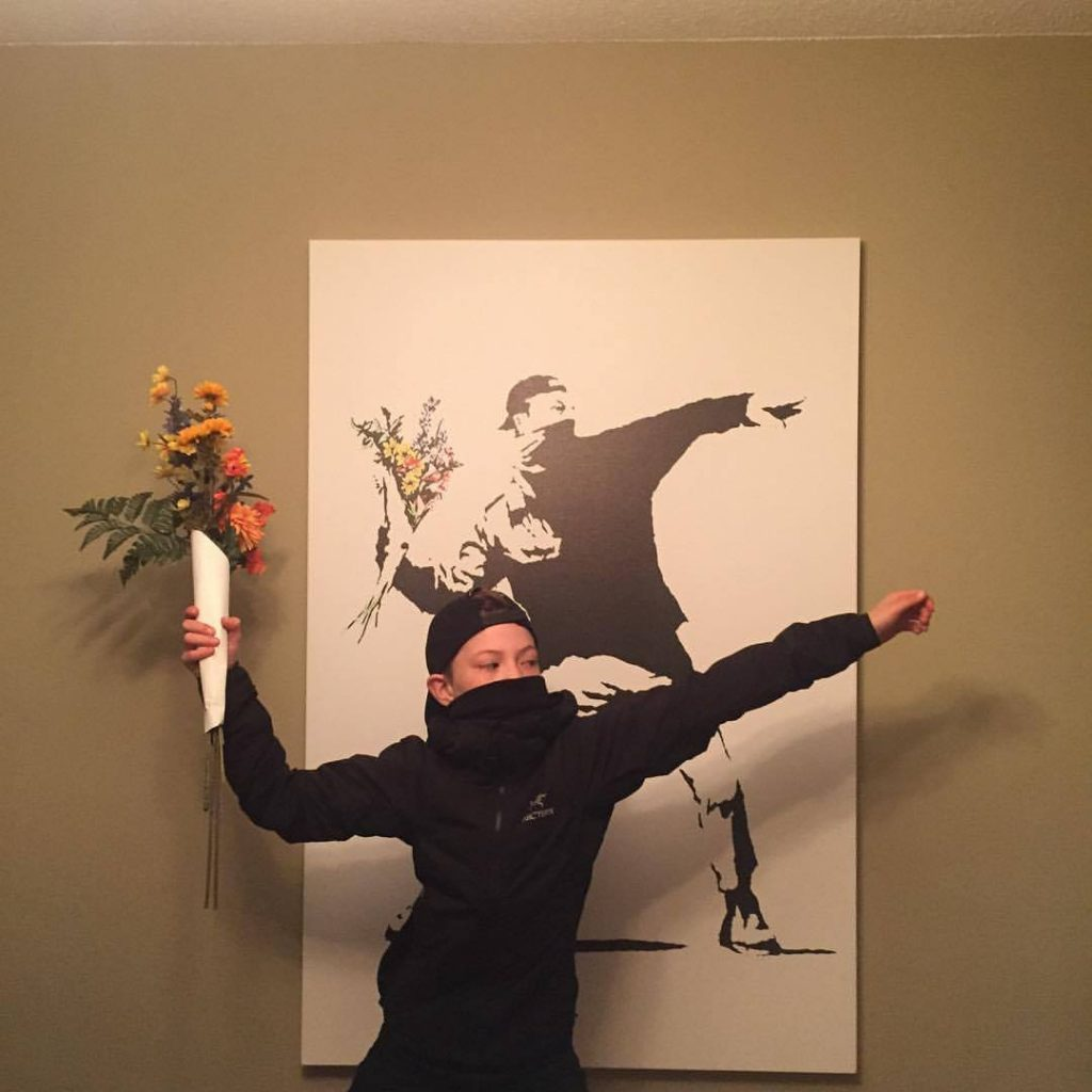 Banksy Flower Thrower via Colleen King: Best homemade kids' Halloween costumes of 2017: