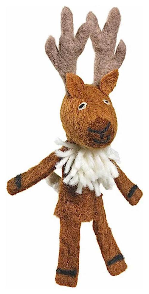 Handmade fair trade deer finger puppet: Cool kids' stocking stuffer ideas