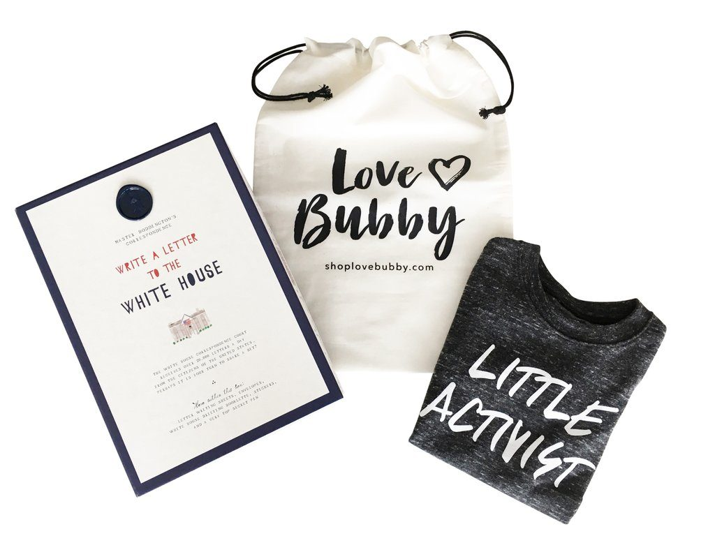 "Little Activist Gift Set comes with a ""write to the White House"" kit! 