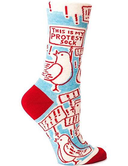 Cool feminist gifts supporting women-owned shops: Protest Socks by BlueQ