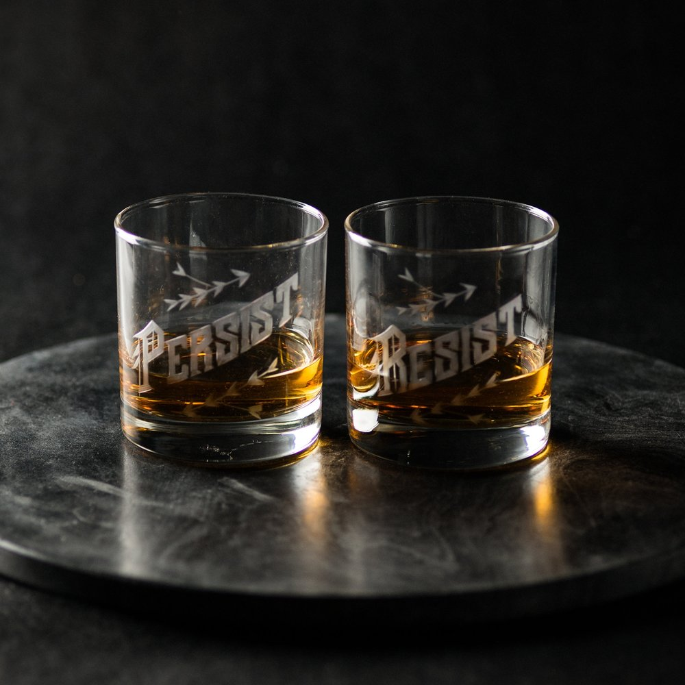 Cool feminist gifts: Resist/Persist glassware