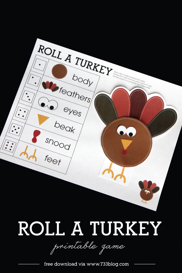 Thanksgiving activity printables: Roll a Turkey Printable Game| Inspiration Made Simple