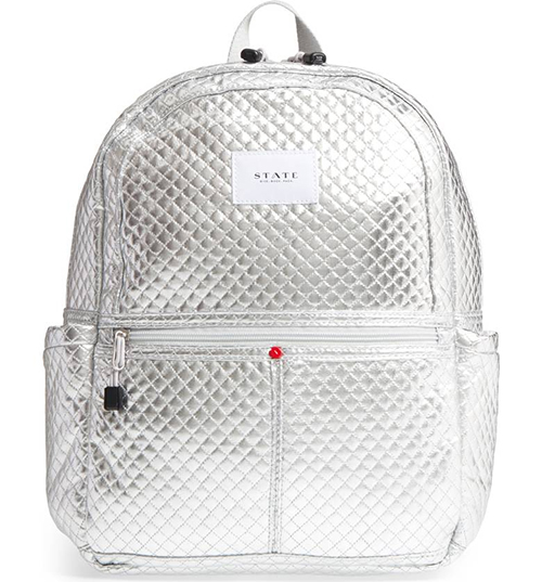Metallic quilted backpack from STATE : Glam gifts for a female BFF