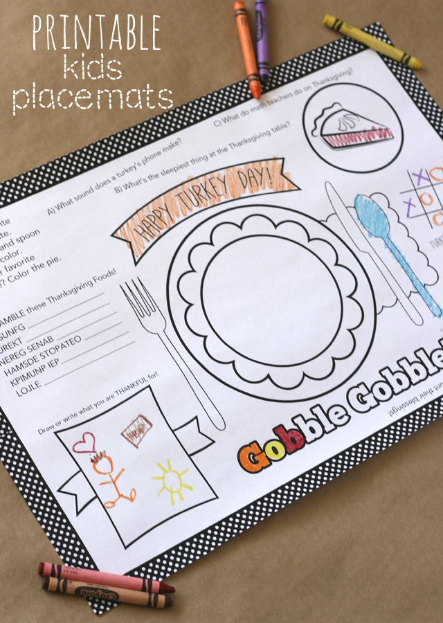 Thanksgiving activity printables: Printable Thanksgiving Placemat Printable | My Sister's Suitcase Blog