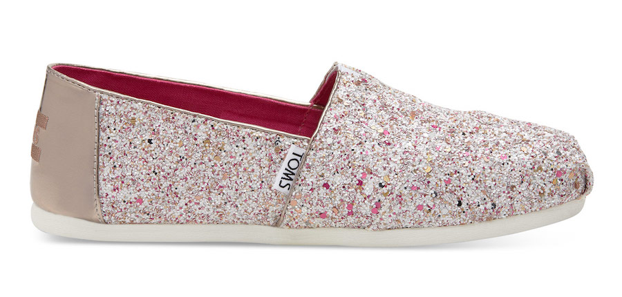 TOMS holiday candy cane glitter shoes