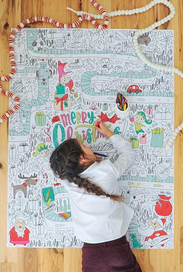 Cool kids' gifts under $15: Giant Christmas coloring poster from Caravan Shoppe
