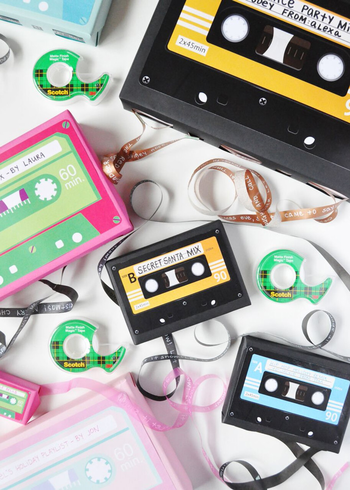 How to make gift cards more special: Create a custom mix tape gift card holder like these by Handmade Charlotte.