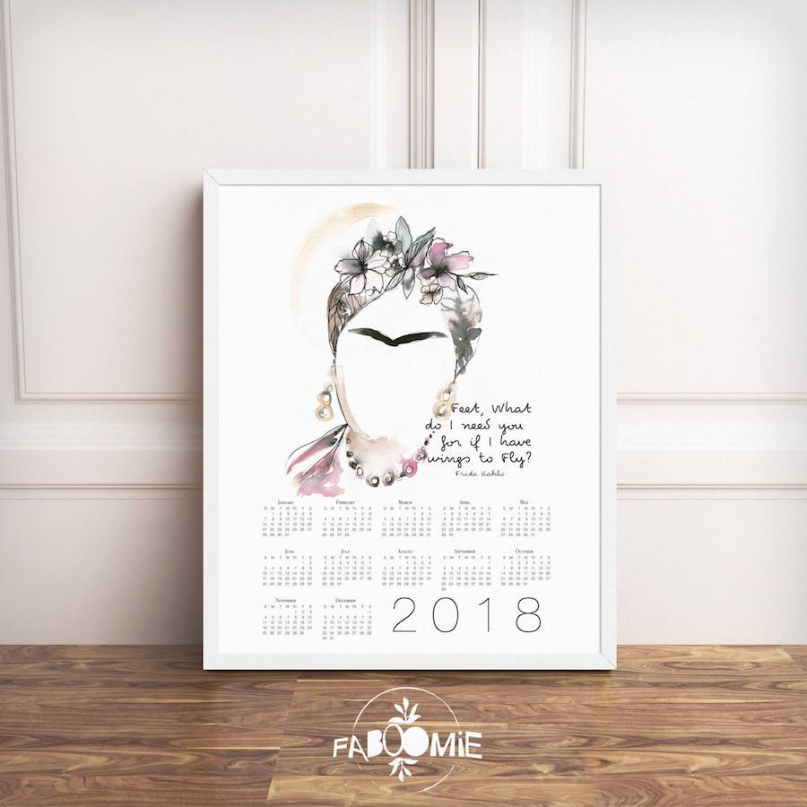 2018 printable calendars: Frida Kahlo Printable Calendar by Faboomie