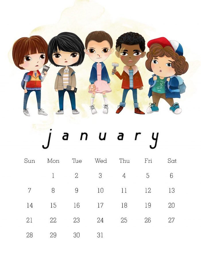 2018 printable calendars: Free Printable Stranger Things Calendar by The Cottage Market