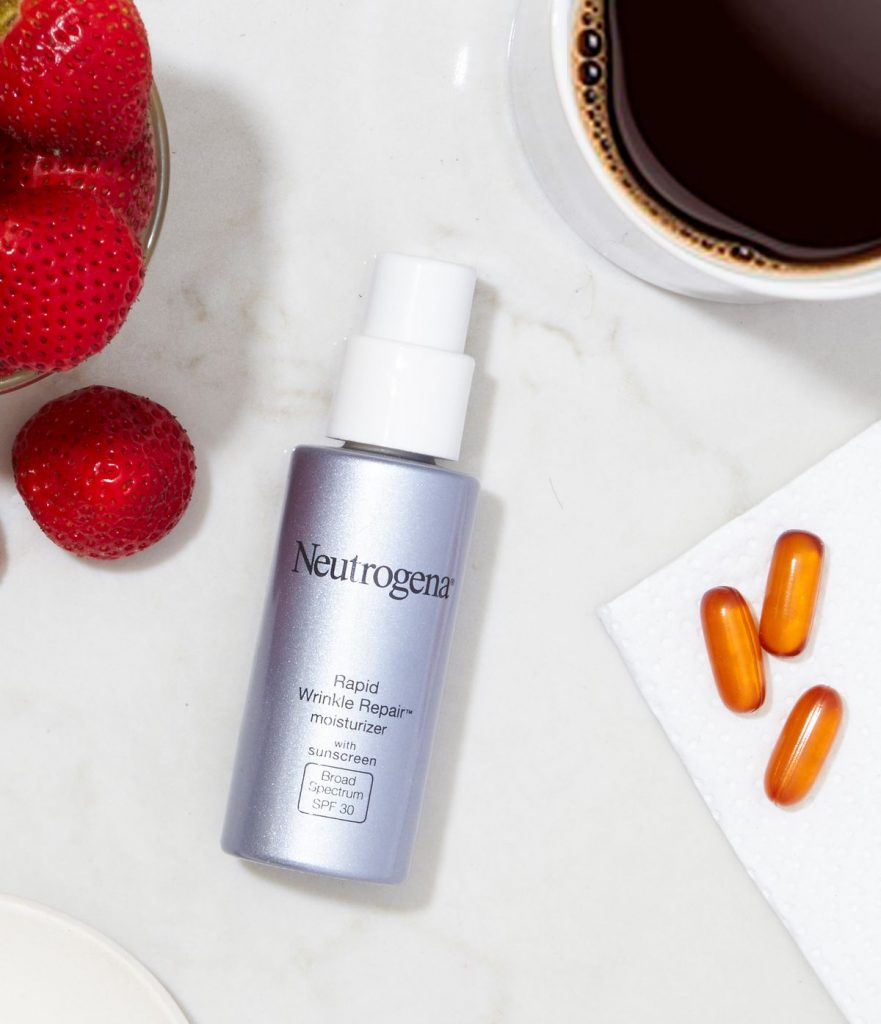 Anti-aging skincare tips: Switch to a moisturizer with antioxidants and other anti-aging ingredients like Neutrogena Rapid Wrinkle Repair