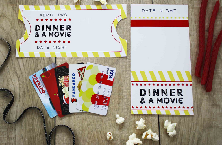 How to make gift cards more special: Download this free dinner and a movie printable by Gift Card Girlfriend, Shelley Hunter on GiftCards.com.