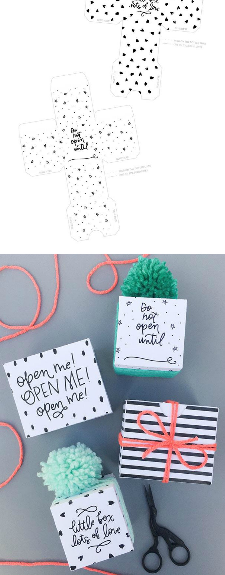 Free printable DIY foldable gift boxes from Caravan Shoppe in three styles - you can even color them in!