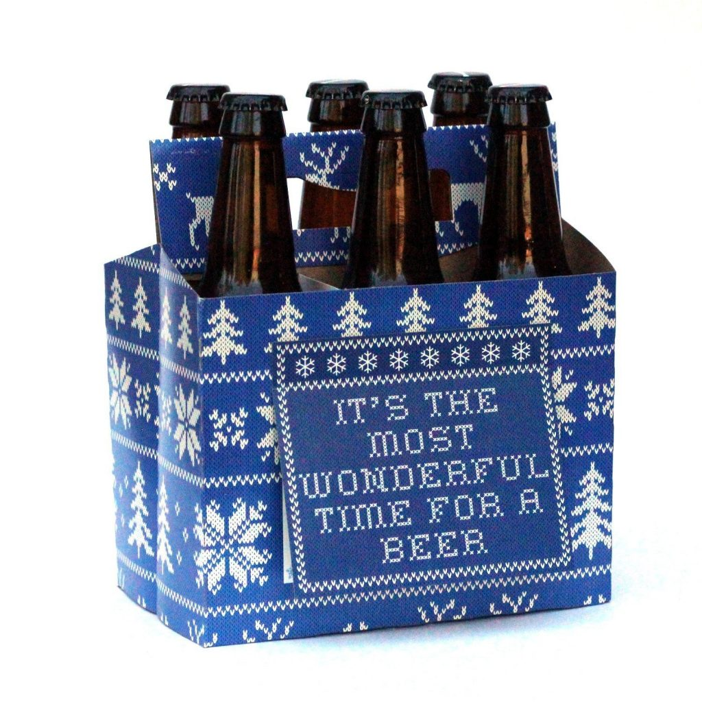Fun hostess gift ideas: Christmas Sweater Beer Holder you can fill with 6 different microbrews (or not!)
