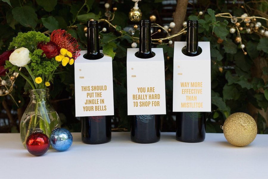 Funny hostess holiday gifts: Gold Foil Wine Tags by Chez Gagne
