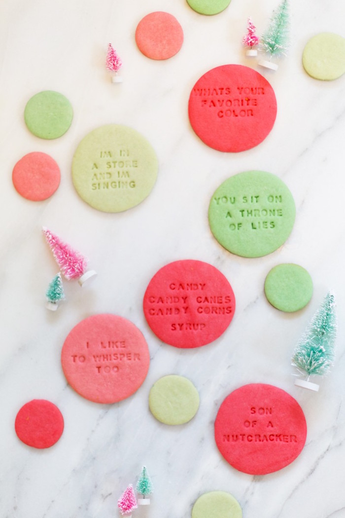 Funny hostess holiday gifts: Elf Quote Cookies by Lovely Indeed