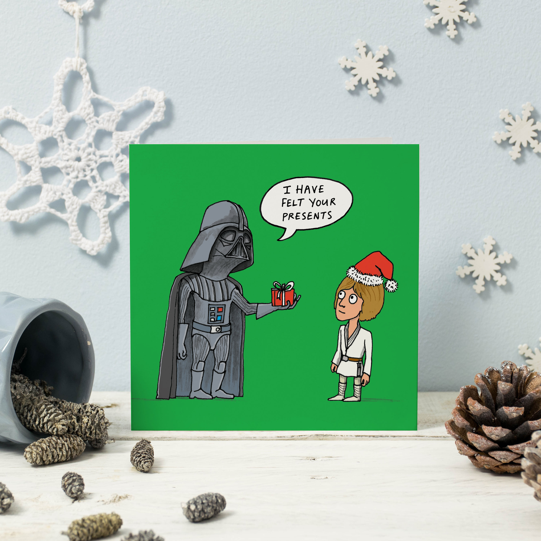 funny star wars christmas card felt your presents
