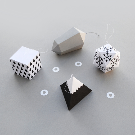 Origami ornaments: Modern Christmas Ornaments  Minie Co. Paper