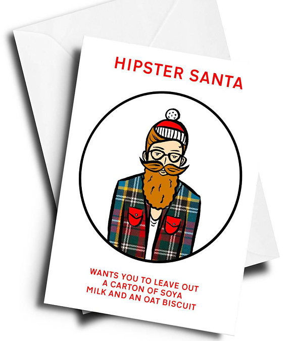 Funniest Christmas cards: Hipster Santa